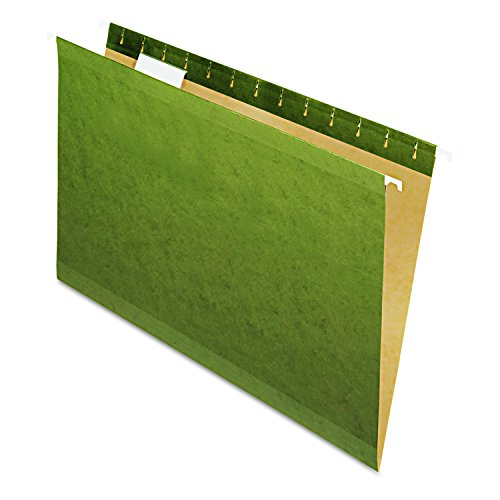 Pendaflex 4153 Hanging File Folders, No Tabs, Legal, Standard Green (Box of 25) - Esselte Recycled Hanging Classification Folder