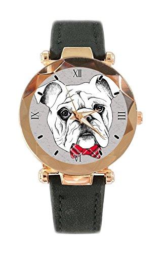 Duseng Portrait of a bulldog in red checkered tie Custom Fashion Women Belt Watch Japanese Quartz Movement Sports Watches (Bulldogs Sport Watch)