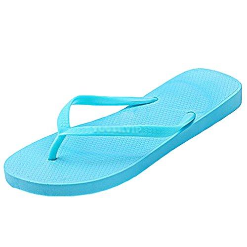 Yiiquan Moda Mujer Verano Plano Chanclas Casual Sandalias Clip toe Zapatos Azul