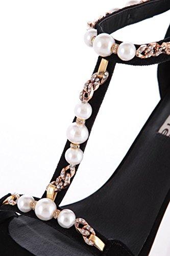 AgooLar Heels High Zipper Toe Open Frosted Sandals Solid Black Women's rwAIOZq6r