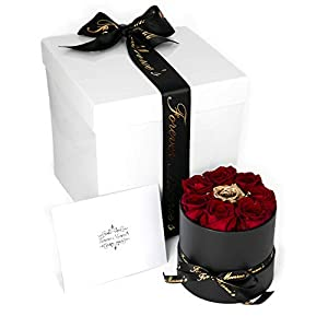 Forever Monroe's Preserved Real Roses in a round box, Long Lasting Luxury Roses that last a year 57