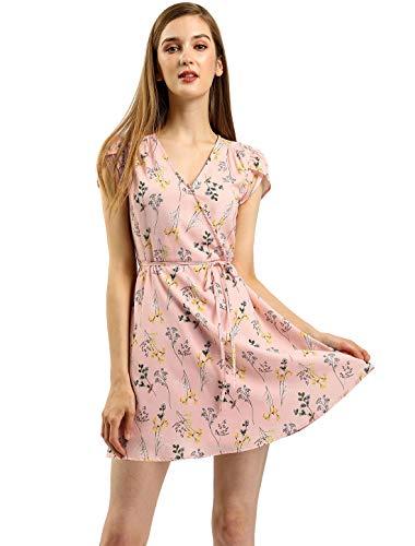 Allegra K Women's Boho Crossover V Neck Petal Sleeves Belted Floral Flowy Dress XS Pink