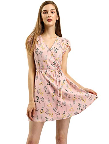 Romantic Chiffon - Allegra K Women's Boho Crossover V Neck Petal Sleeves Belted Floral Flowy Dress S Pink