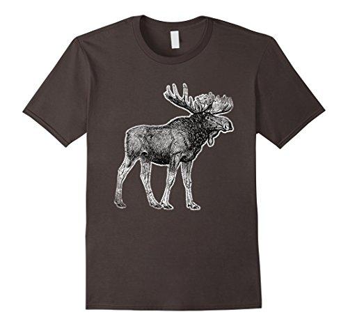 Mens Cute Moose Antlers Funny Shirt Tee Canada Lover Gift Idea Large Asphalt