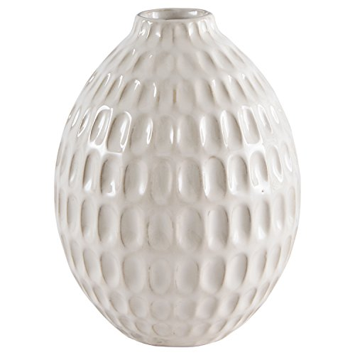 Cheap Stone & Beam Modern Oval Pattern Stoneware Vase, 6.6″H, Off-White