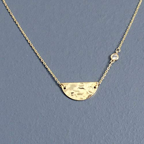- WAS $33.00 - RM JEWELRY STUDIO; dainty cubic zirconia and hammered half circle pendant, GOLD plated necklace, simple, small, delicate, everyday, dainty