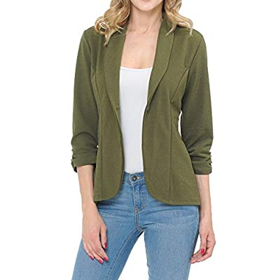 MINEFREE Women's 3/4 Ruched Sleeve Lightweight Work Office Blazer Jacket (S-3XL) at Women's Clothing store