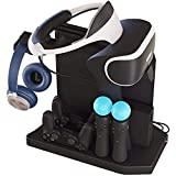 Lenboken-KJH All-in-One PSVR Charging Display Stand PlayStation VR Vertical Stand Cooling Fan with Controller Charging Station, PSVR Glasses & Headset Bracket ,Universal Game Disk Storage Tower For PS4 / PS4 Pro / PS4 Slim/PS VR/PS VR2