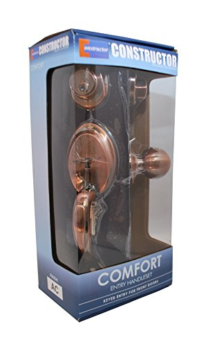 Constructor CON3997 Comfort Entry Lock Set with Door Lever Handle, Antique Copper (Copper Door Handles compare prices)