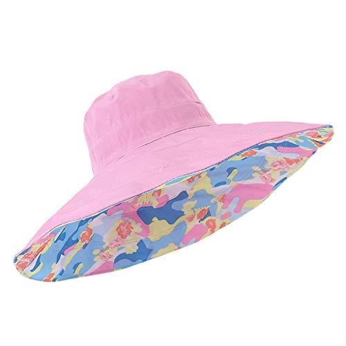 KLGDA Ladies Double Foldable Sunscreen Beach Sun Hat Summer Seaside Big Edge Cap Solid Casual -