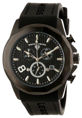 Swiss Legend Men's 10042-BB-01 Monte Carlo Chronograph Black Textured Dial Black Silicone Watch