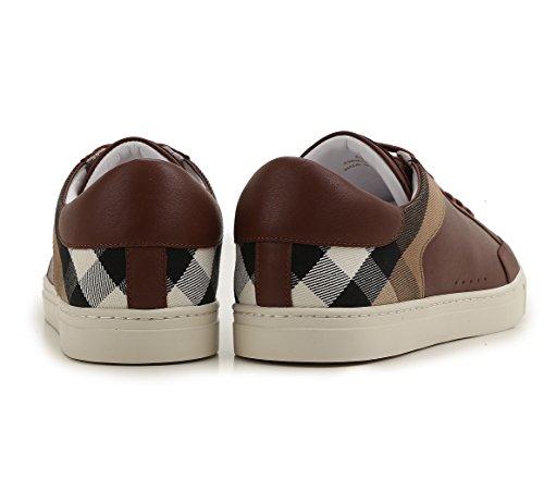 Burberry Sneakers Scarpe Uomo in Pelle e Tessuto Modello 4038151 Dark Camel Check