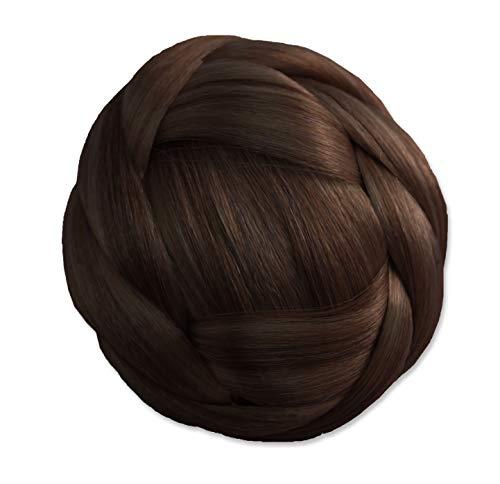 (Mia Clip-n-Bun, Bun Hair Piece, Clip on, Jaw Clamp, Synthetic Wig Hair, Medium Brown, 5 Inch Diameter, For Women, Girls, Dance, Costume)