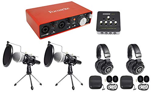 (Focusrite Two Person Podcast Podcasting Package: Interface+2) Mics+2) Headphones)