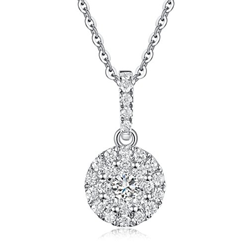 (Carleen Solid 18K White Gold Solitaire Round Necklace 0.177cttw Diamond Pendant Necklaces for Women, 18