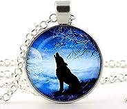 Handicraft Wolf Pendant, Blue Moon Necklace , wolf pendant jewelry