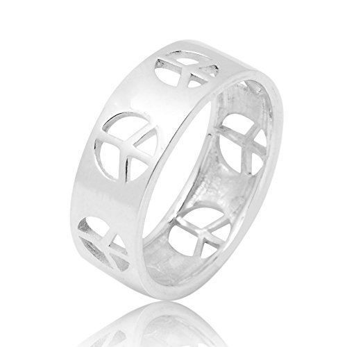 925 Sterling Silver Cut Open Peace Love Freedom Sign Symbol Polished Finish Unisex Band Ring 8