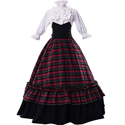 Girls Civil War Dress (I-Youth Womens Renaissance Civil War Victorian Dress Southern Belle Cosplay Medieval Pioneer Dickensonian Costume(M,)