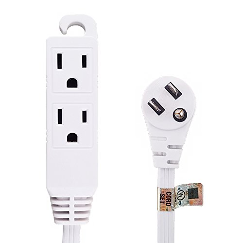 ug Extension Cord 16/3 Grounded 3-Outlet Tap 12-Foot White UL Listed (3 Grounded Outlets)