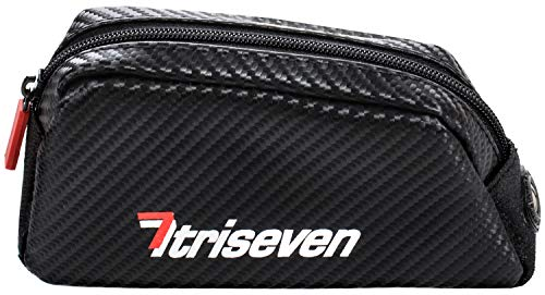 - TriSeven Aero 20 Carbon Cycling Frame Bag - Lightweight Storage for Triathlons & MTB | Holds Most Cell Phones, Wallets, 7 Gels, Pump, Tools and More!