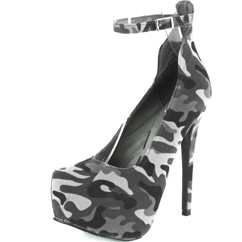 Womens Almond Toe Ankle Strap Vegan Platform Pump Mary Jane Grey Camouflage, 5.5