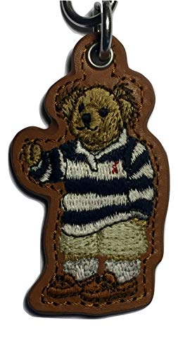 Ralph Lauren Iconic Polo Bear Leather Key Fob,Brown,One Size