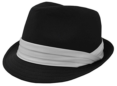 K Men's Fedora Black With White Band (White Hat With Black Band)