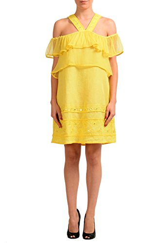 Just Cavalli Linen Yellow Sleeveless Women's Sheath Dress US S IT 40 Cavalli Linen