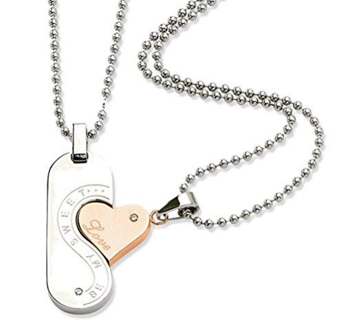 The Men's Jewelry Store (Unisex Jewelry) Stainless Steel and Rose Gold Plate Steel 'Be My Sweet. Love' Couples Necklaces by The Men's Jewelry Store (Unisex Jewelry)