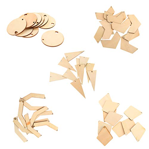 Prettyia 50Pcs Assorted Geometric Wood Shapes Blank Pieces with Holes Unfinished Wood Slices Log Natural Ornaments DIY Hanging Decoration, Rustic Crafts