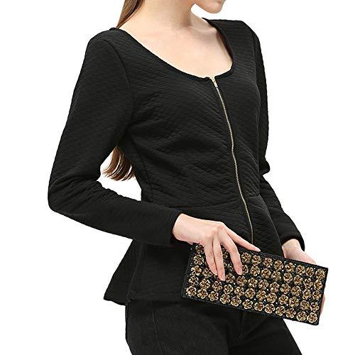 Black Tops Long women For Slik Girls Tshirt Smart Casual Sleeves Ladies Shirt Sleeve Zipper Blouse Women Solid Cotton Christalor tpwUA