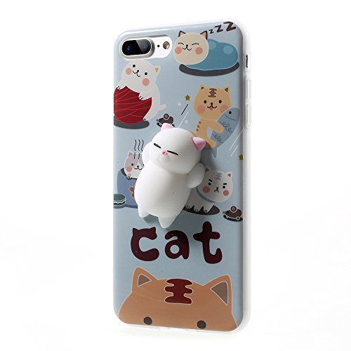 Price comparison product image Lemonda Fashion Cute Squishy Cat Phone Case 3D Protective Soft Silicone Pappy Squishy Cat TPU Back Phone Bag Case for iPhone 7 Plus Best Gift for Boys and Girls (Squishy Cat A)