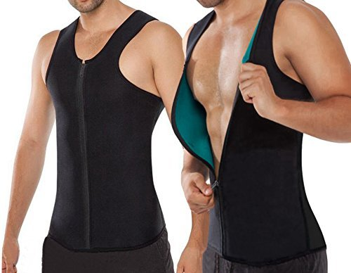 NonEcho Men's Neoprene Sauna Suit Sweat Body Shaper Fitness Vest, Black, (Wear Suit Vest)