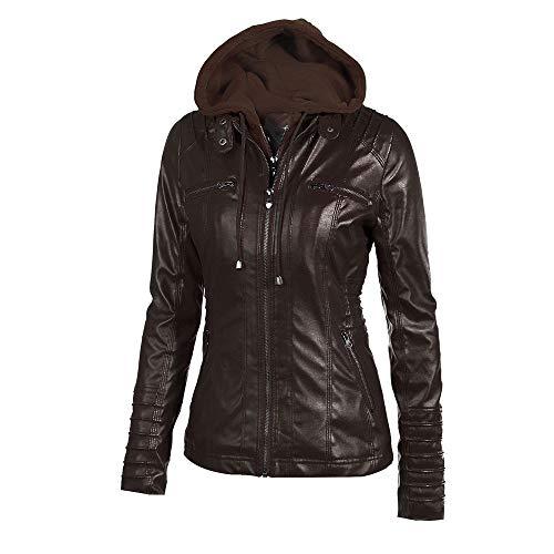 Biker Jacket AfterSo Womens Winter Warm Hooded Faux leather Coats Parkas Outwear -