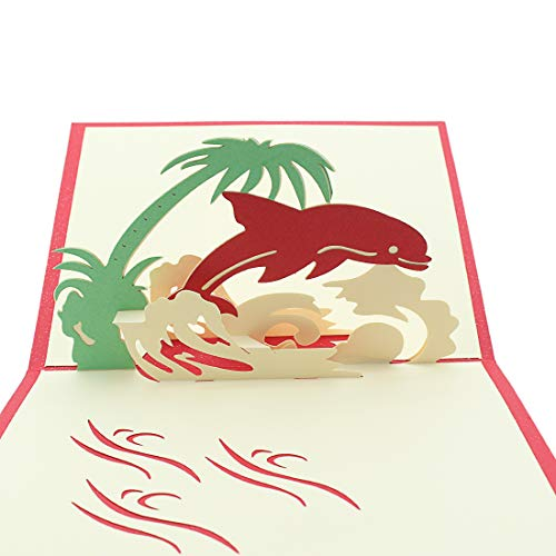 Dolphin Pop Up Card, 3D Card, Birthday Card, Summer Card, Spring Card for Kids(Envelope Included)]()