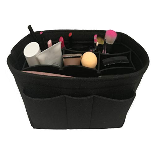 Felt Insert Fabric Purse Organizer Bag, Bag Insert In Bag with Zipper Inner Pocket Fits Neverfull Speedy 8010 Black M ()