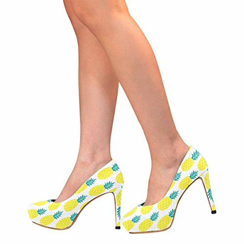 Womens Classic Pumps Heel InterestPrint Pineapple Platform Womens InterestPrint Fashion High UqnEAApFx