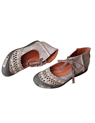 Youlee Women's Summer Hollow Hand-stitching Leather Sandals Coffee EtNxsQ4J
