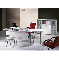 """Mare Collection Modern Clover 6 Piece L Shaped Desk Home Office Suite Furniture Set 63"""" White & Metalic Grey"""