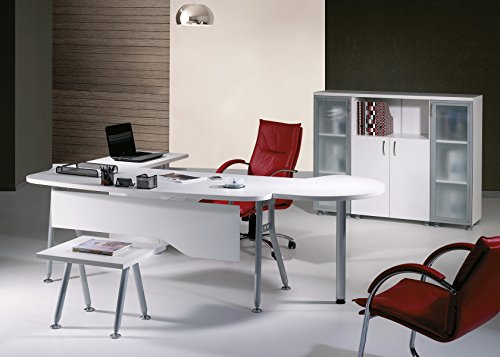 Modern Clover 6 Piece L Shaped Desk Office Suite Furniture Set 71'' White & Metalic Grey by homedesignergoods.com