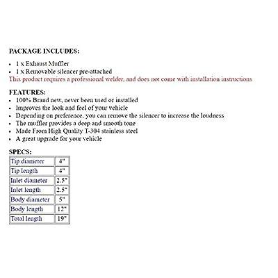 "S SIZVER Weld-On Muffler Series 4"" N1 Tip Black Stainless Steel 2.5"" Inlet: Automotive"