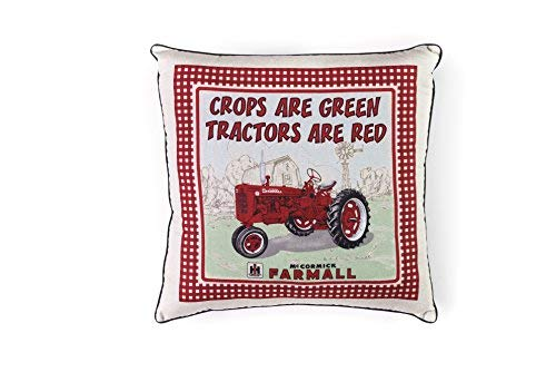 J&D Productions, Inc. Farmall Tractor Throw Pillow, Crops are Green Tractors are Red [並行輸入品] B07RCDMTZZ