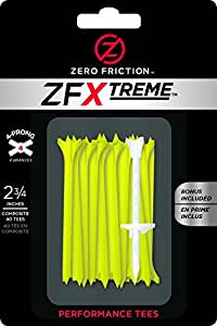 Zero Friction Xtreme 4-Prong Golf Tees (2-3/4 Inch, Lemon Lime, Pack of 40)
