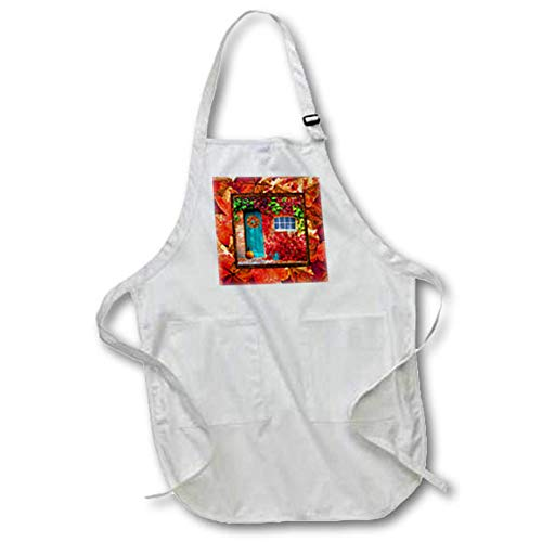 3dRose Beverly Turner Autumn Design - Aqua Door, Pumpkin, Watering Can, Window with Leaves, Autumn Colors - Medium Length Apron with Pouch Pockets 22w x 24l (apr_290396_2)