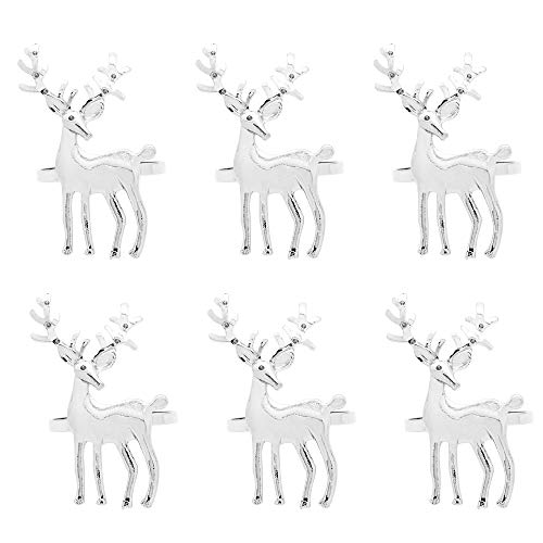 C&L Accessories Napkin Rings Set of 6, Silver Reindeer Napkin Holders for Wedding Banquet Party Dinner Christmas Hotel Kitchen Table -