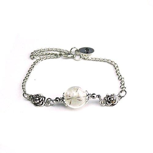 Baishitop Fashion New Women Natural Flowers Dandelion Specimens Glass Pendant Link Bracelets