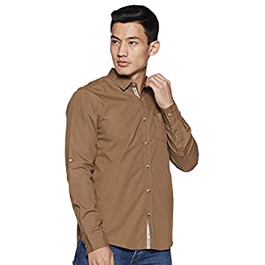 Amazon Brand – Inkast Denim Co. Men's Solid Slim Fit Full Sleeve Casual Shirt