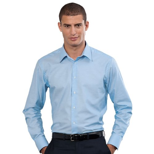 Russel Sammlung Langärmlig Pflegeleicht Geschneiderte Oxfordhemd Formell Büro Top - Oxford Blau, 17