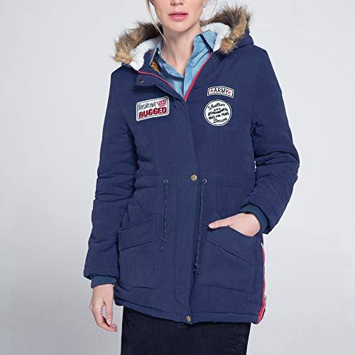 Capuche Manteau Jacket Fermeture Outwear Veste Hiver Doux Femme Longue Fantaisiez Marine4 Mode À Décontractée Manteaux Éclair Épais Manche Coton vqAffz