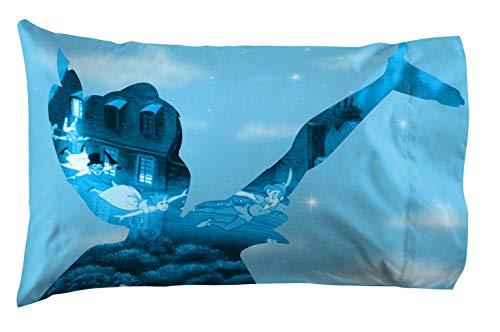 Jay Franco Disney Peter Pan Neverland 1 Pack Reversible Pillowcase - Kids Super Soft Bedding (Official Disney Product)